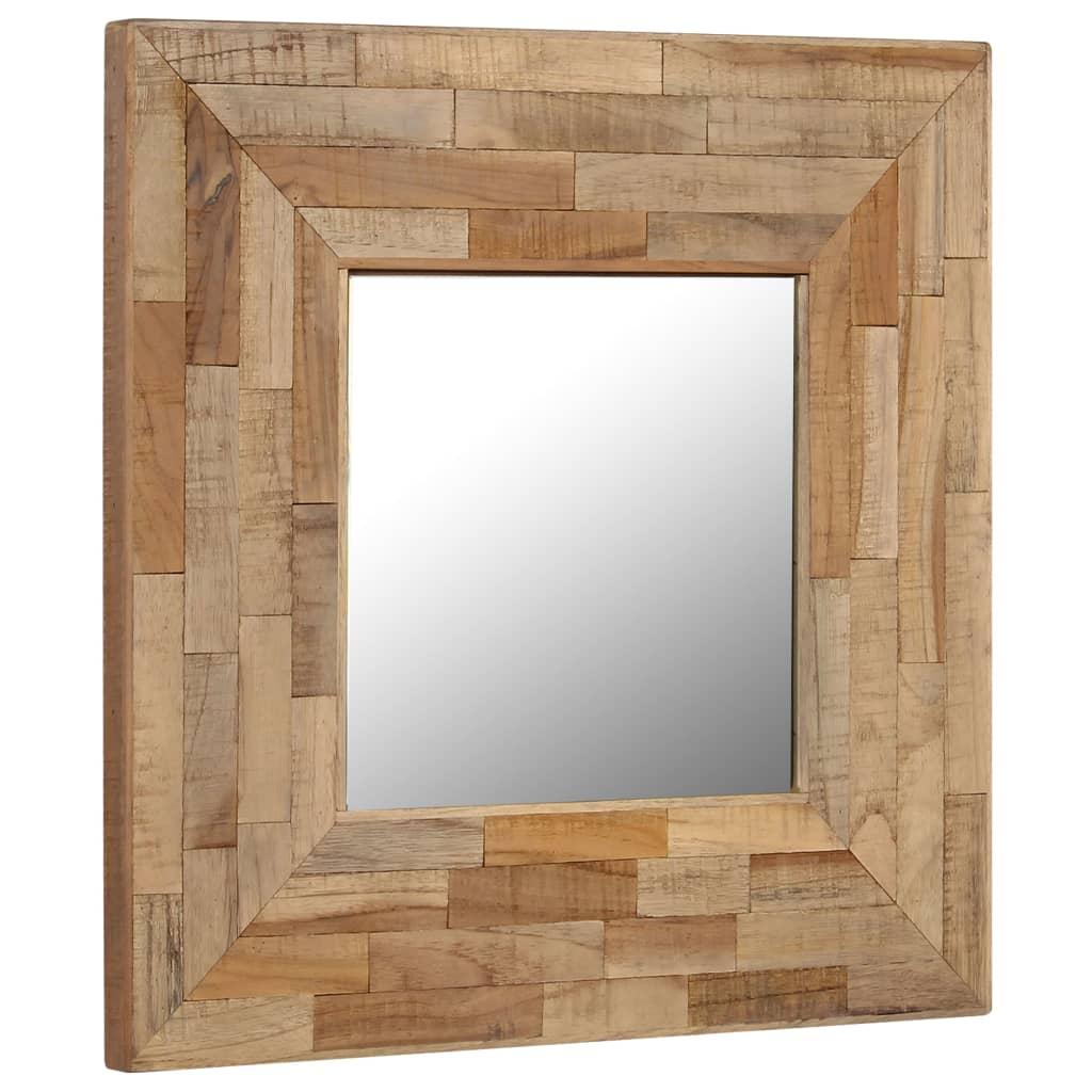 vidaXL Zrkadlo 50x50 cm recyklované teakové drevo