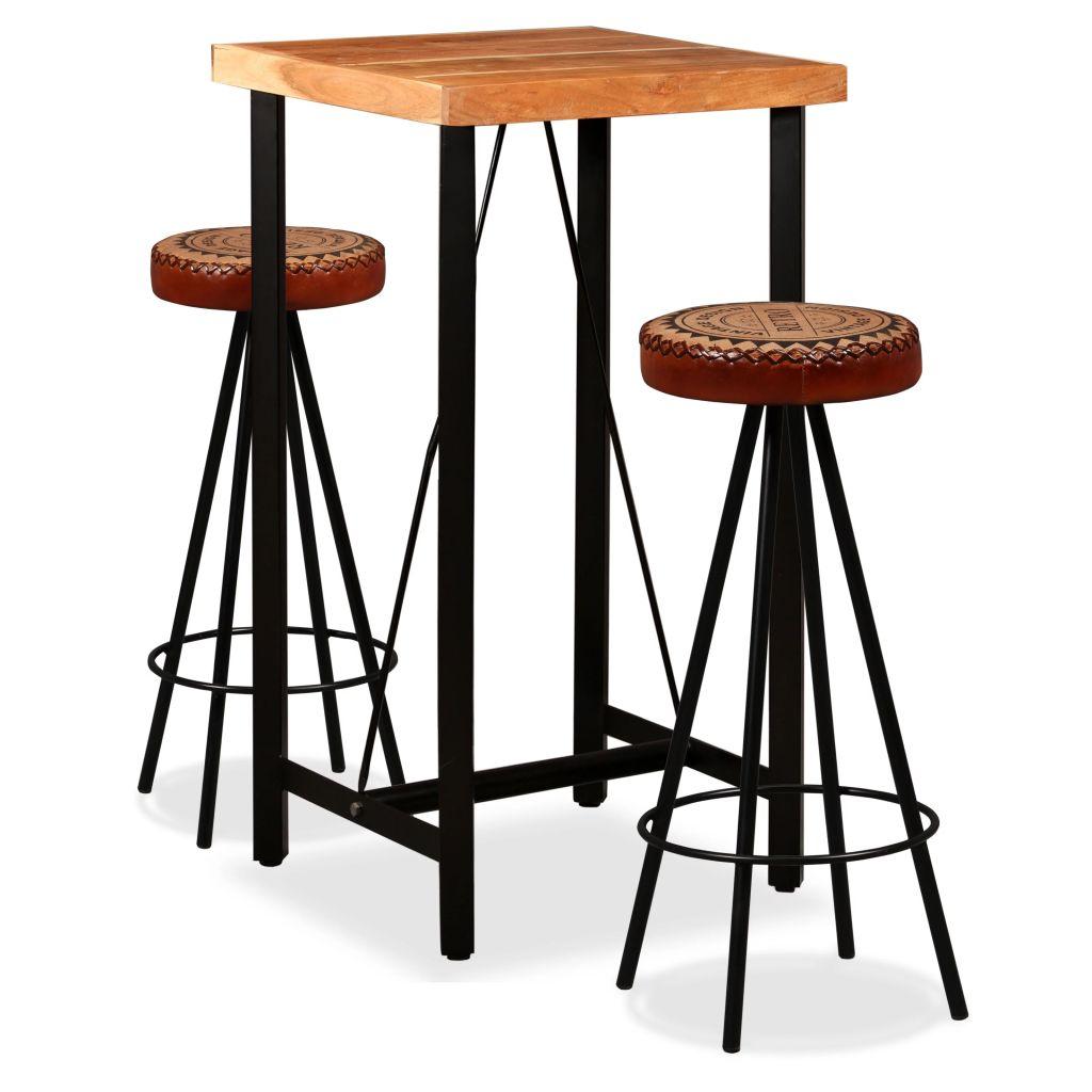 vidaXL 3-dielna barová súprava sheeshamové drevo pravá koža a plátno