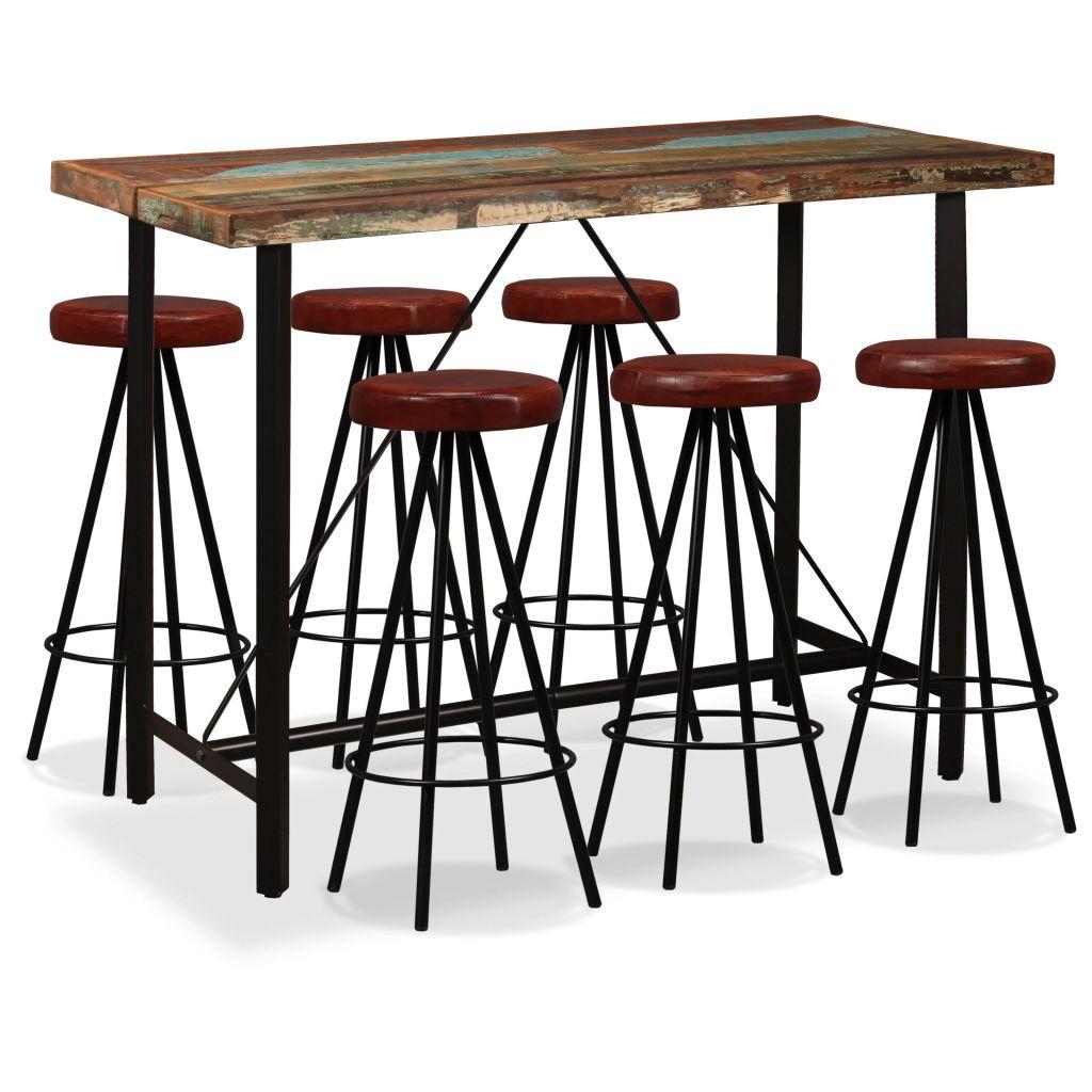 vidaXL 7-dielna barová súprava, masívne recyklované drevo a pravá koža