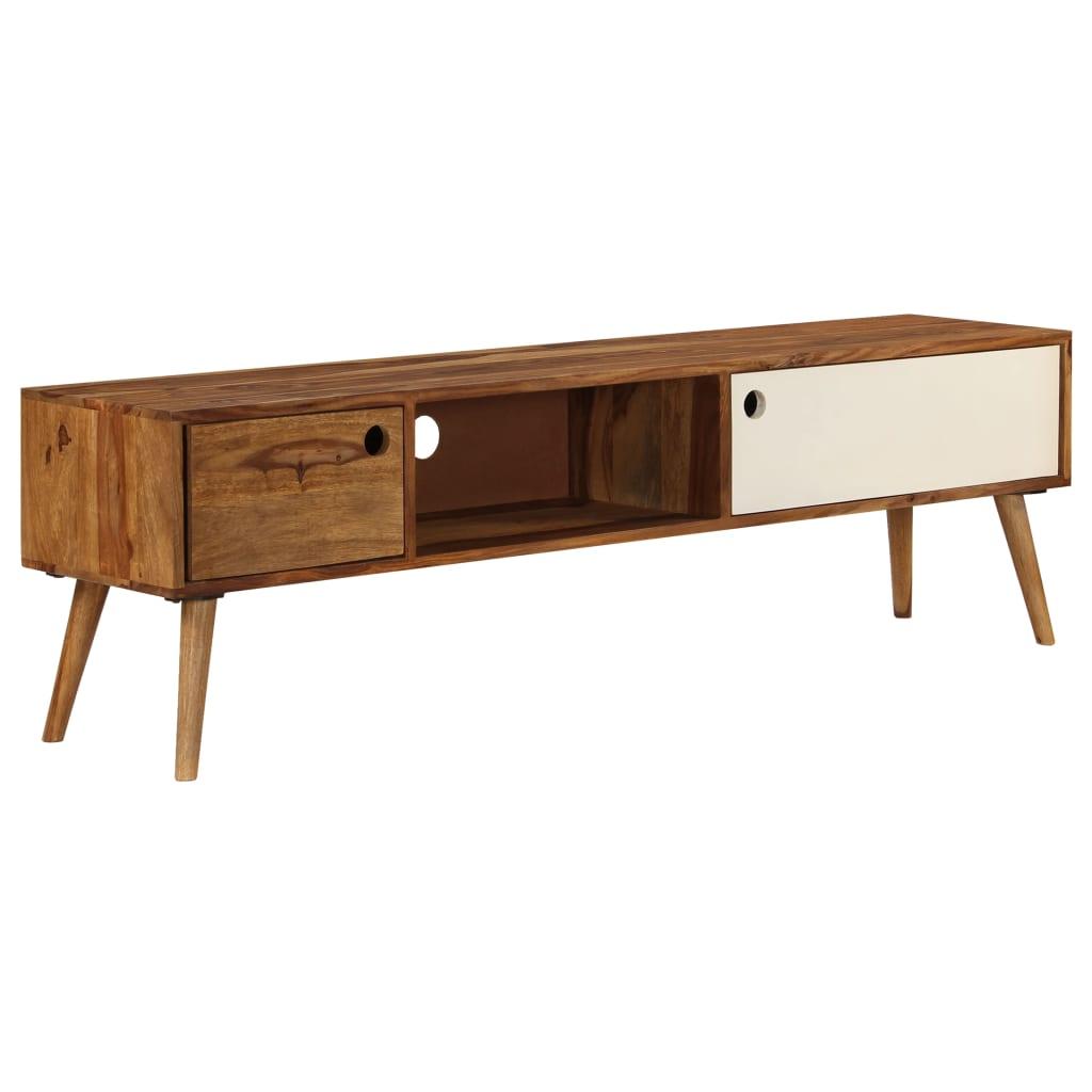 vidaXL TV stolík 140x50x35 cm masívne sheeshamové drevo