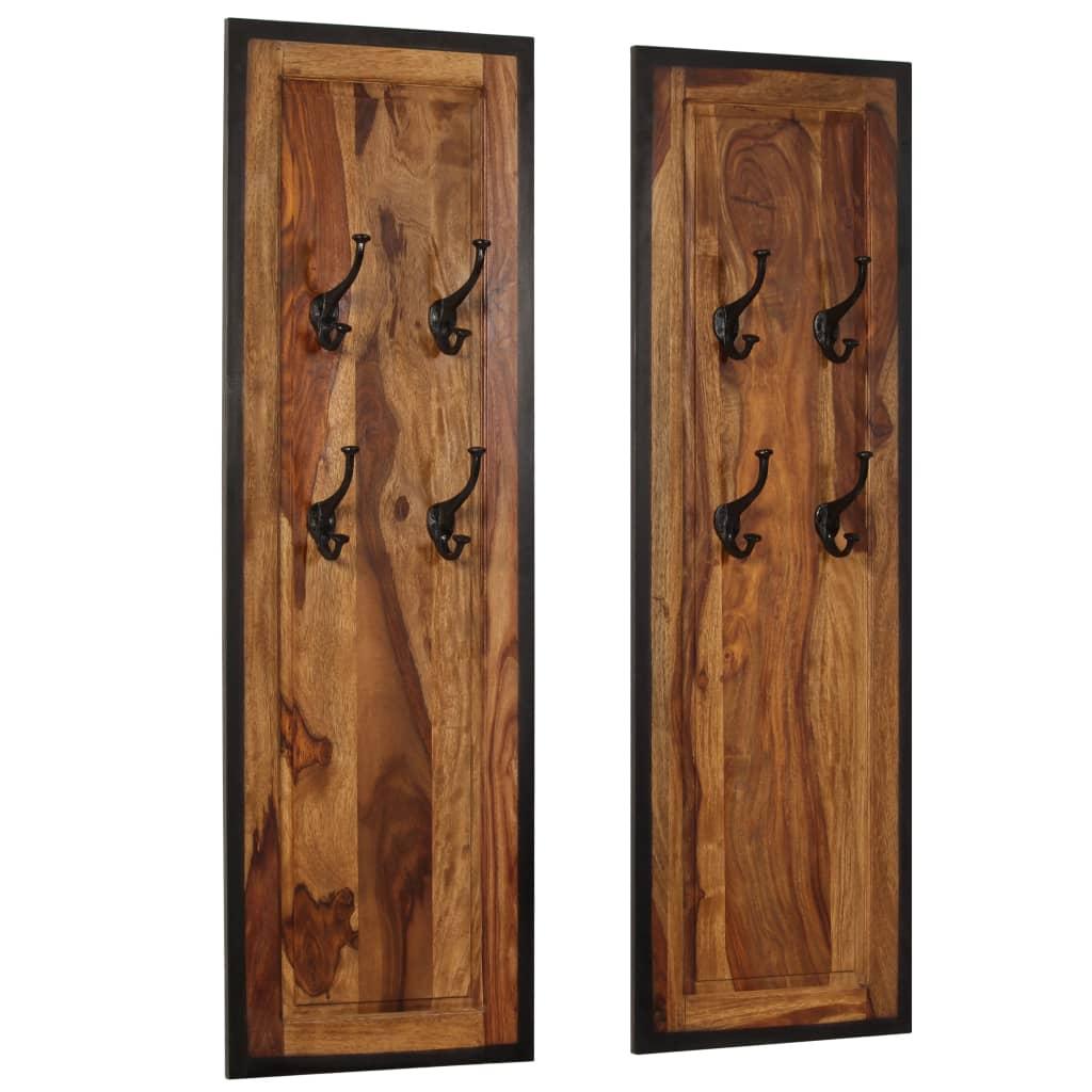 vidaXL Vešiaky na kabáty zo sheeshamového dreva 2 ks