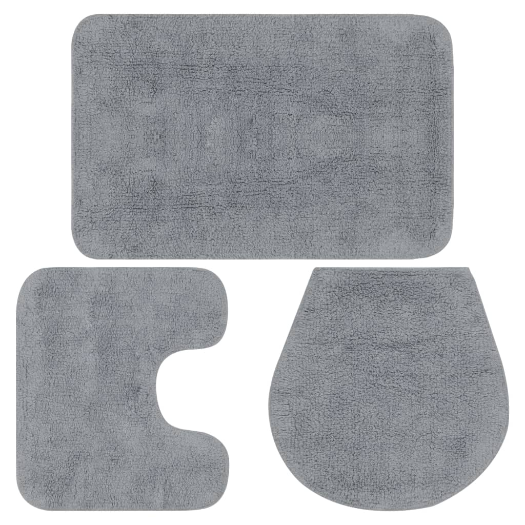 vidaXL Sada látkových kúpeľňových podložiek 3 ks sivá
