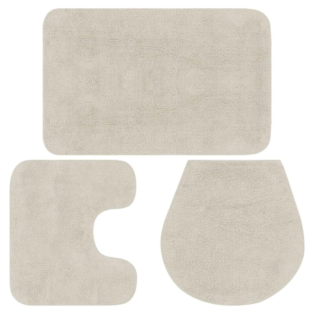 vidaXL Sada látkových kúpeľňových podložiek 3 ks biela