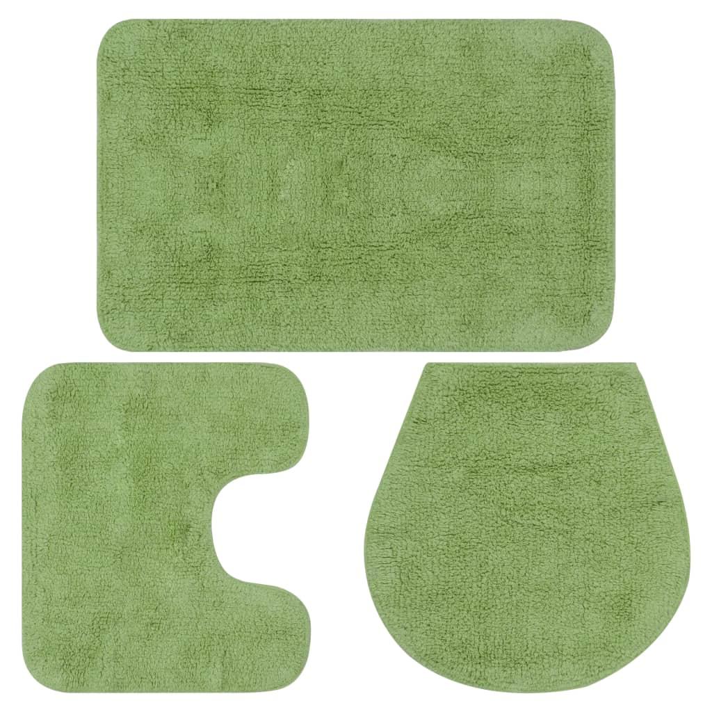 vidaXL Sada látkových kúpeľňových podložiek 3 ks zelená