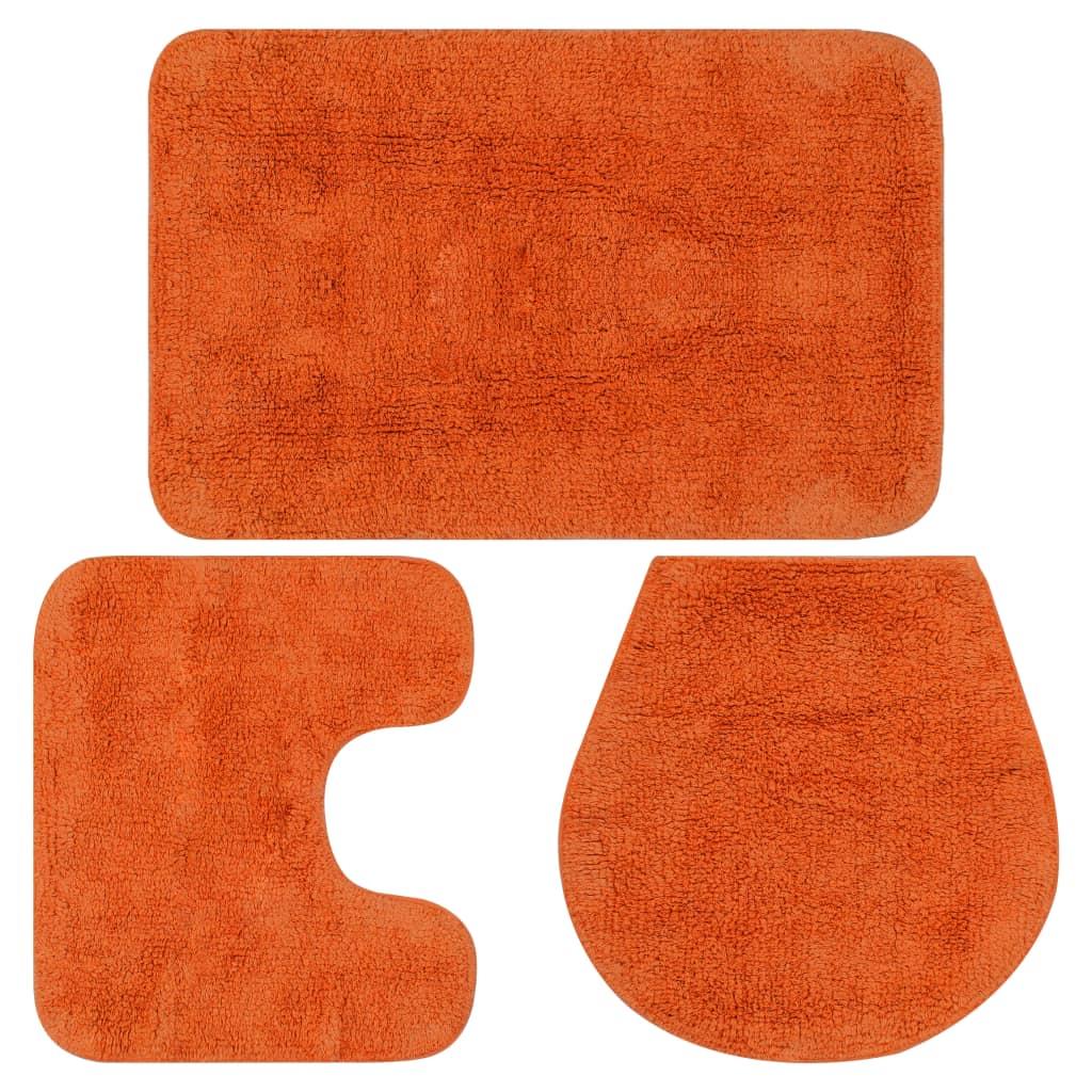 vidaXL Sada látkových kúpeľňových podložiek 3 ks oranžová