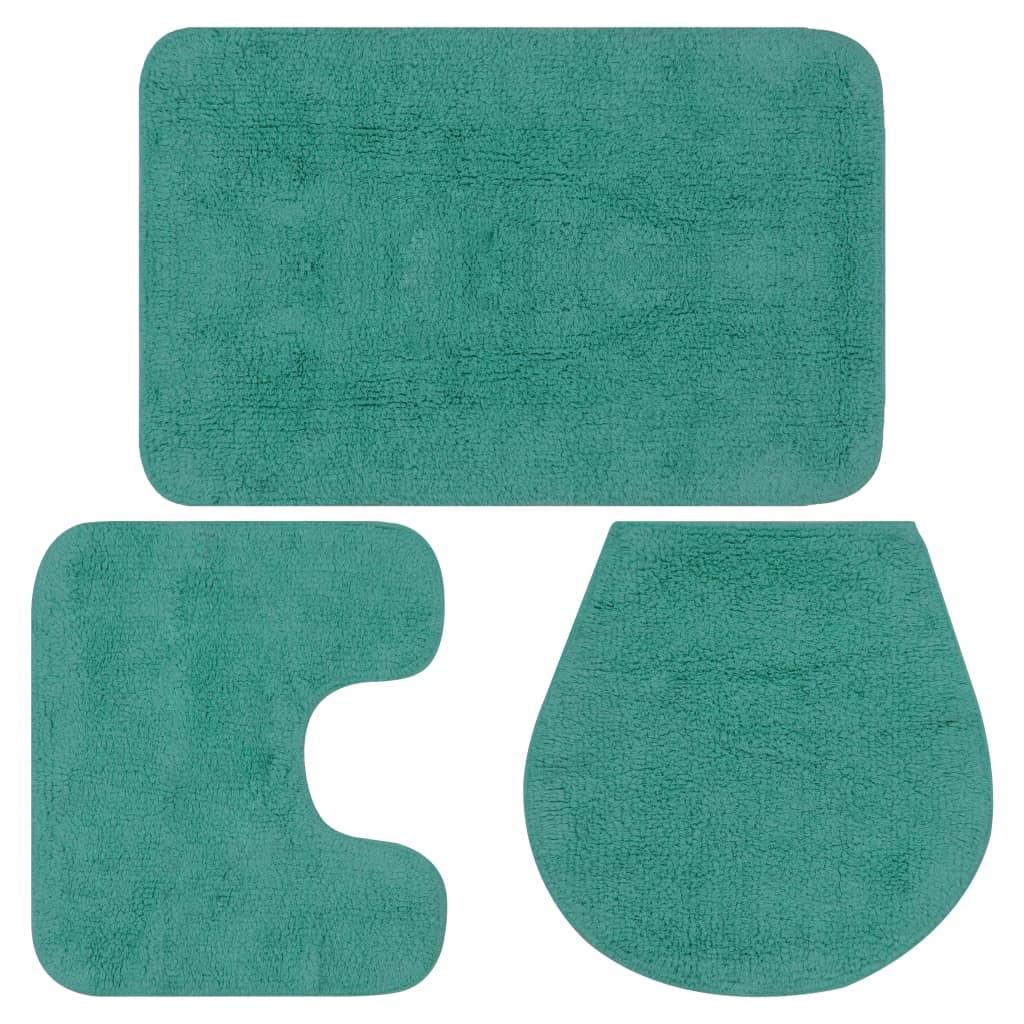 vidaXL Sada látkových kúpeľňových podložiek 3 ks tyrkysová