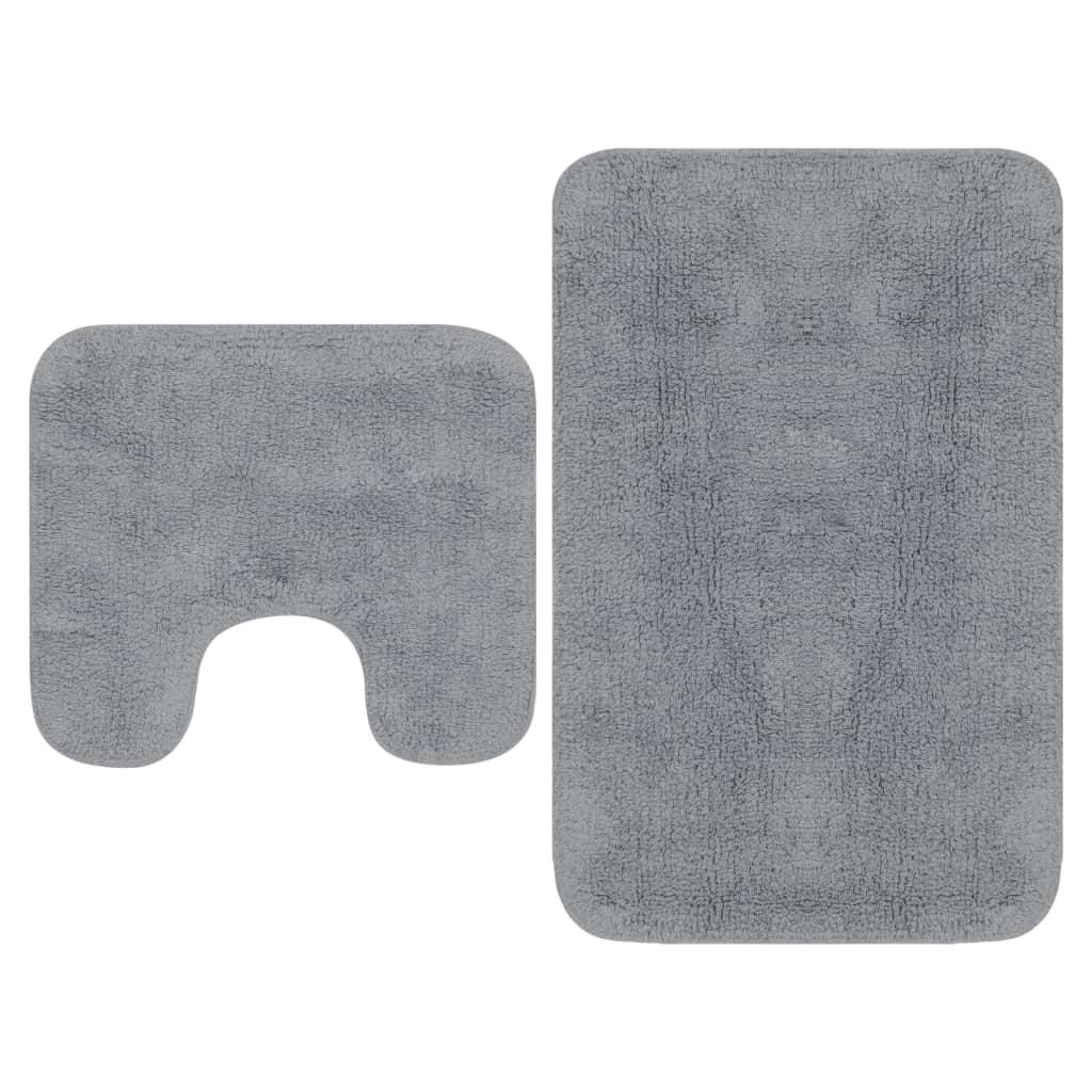 vidaXL Sada látkových kúpeľňových podložiek 2 ks sivá