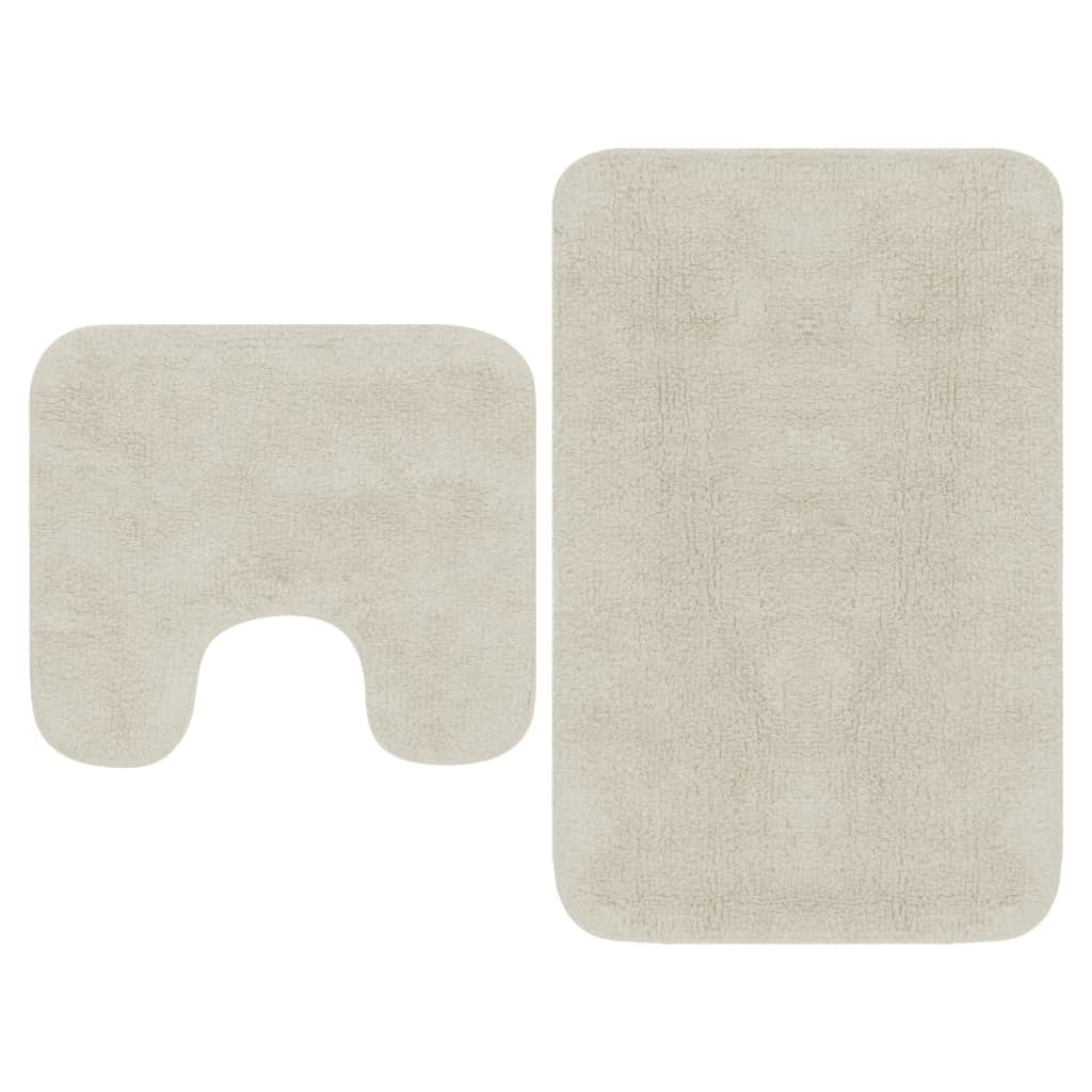 vidaXL Sada látkových kúpeľňových podložiek 2 ks biela