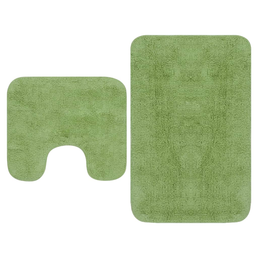 vidaXL Sada látkových kúpeľňových podložiek 2 ks zelená