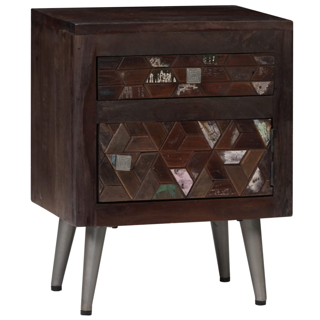 vidaXL Nočný stolík masívne recyklované drevo 40x30x50 cm