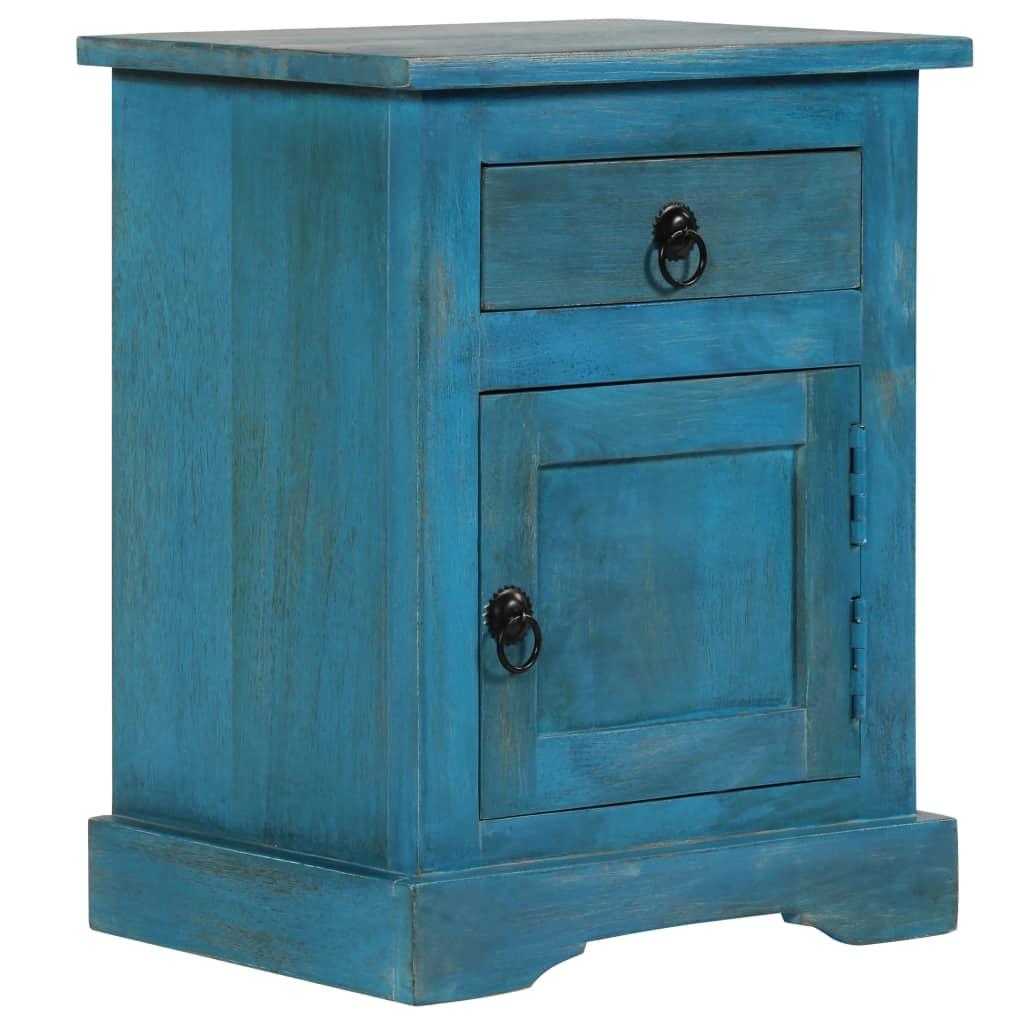 vidaXL Nočný stolík z mangovníkového dreva 40x30x50 cm modrý
