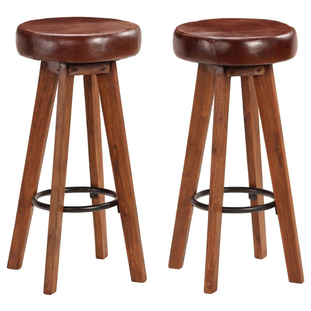 vidaXL Barové stoličky 2 ks akáciové drevo a pravá koža 45x45x76 cm