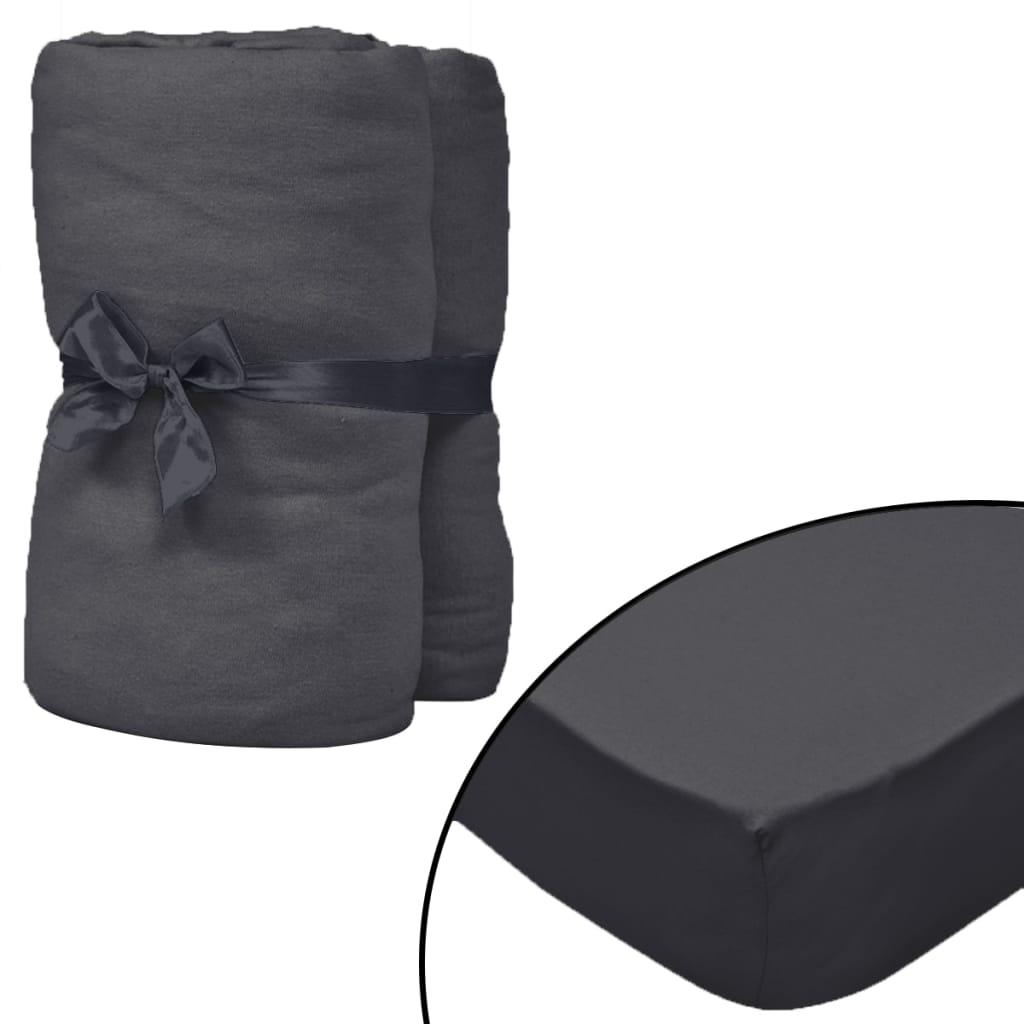 vidaXL Prestieradlá pre vodnú posteľ 2 ks antracitové 2x2,2 m bavlnené
