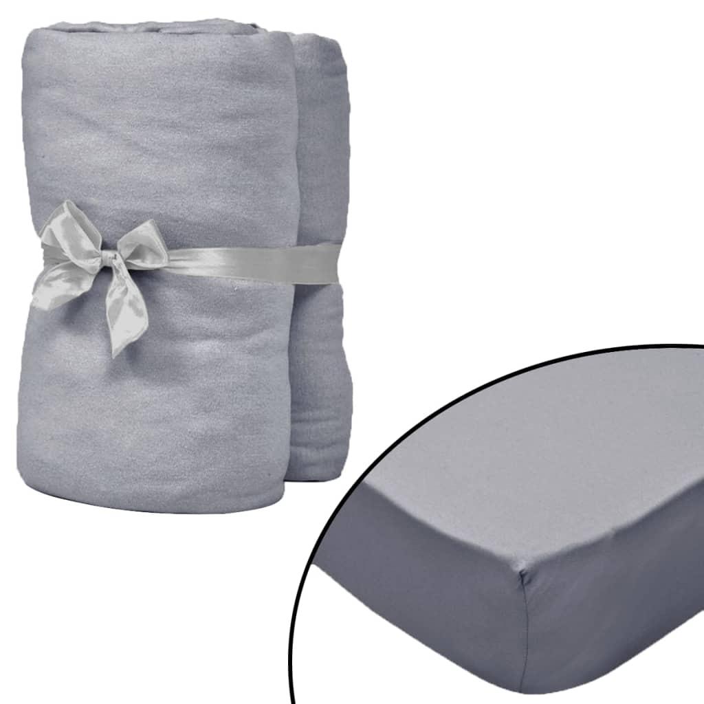 vidaXL Prestieradlá pre vodnú posteľ 2 ks 160x200 cm bavlna sivé