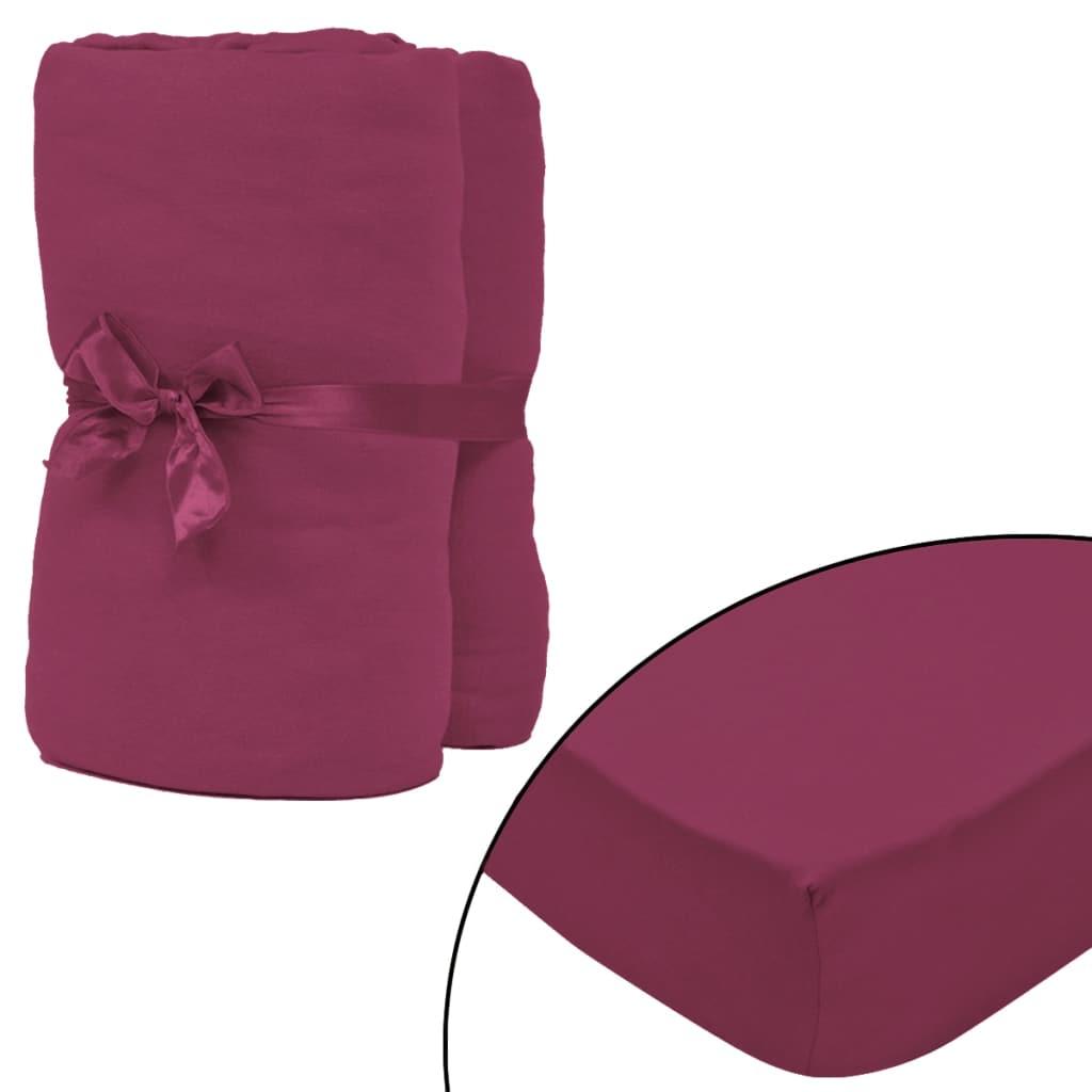 vidaXL Prestieradlá pre vodnú posteľ 2 ks 2x2,2 m bavlna vínové