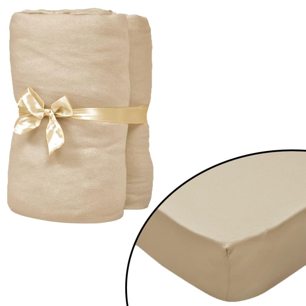 vidaXL Prestieradlá pre vodnú posteľ 2 ks 200x200 cm bavlna béžové