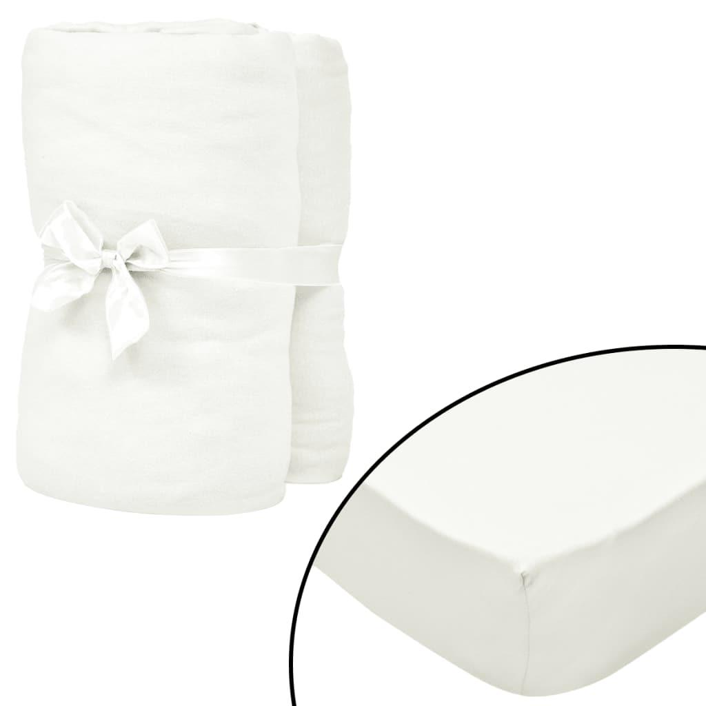 vidaXL Prestieradlá na posteľ 2 ks 150x200 m bavlna Jersey biele