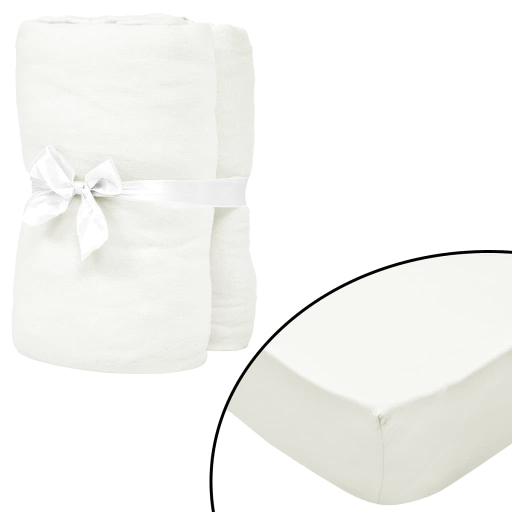 vidaXL Prestieradlá na posteľ 2 ks 190x200 m bavlna Jersey biele