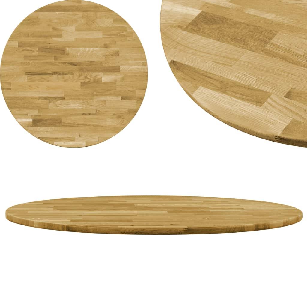 vidaXL Stolová doska dubové drevo okrúhla 23 mm 800 mm