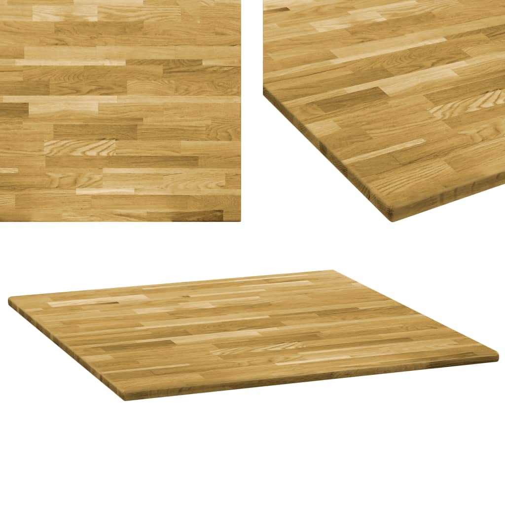 vidaXL Stolová doska dubové drevo štvorcová 23 mm 80x80 cm