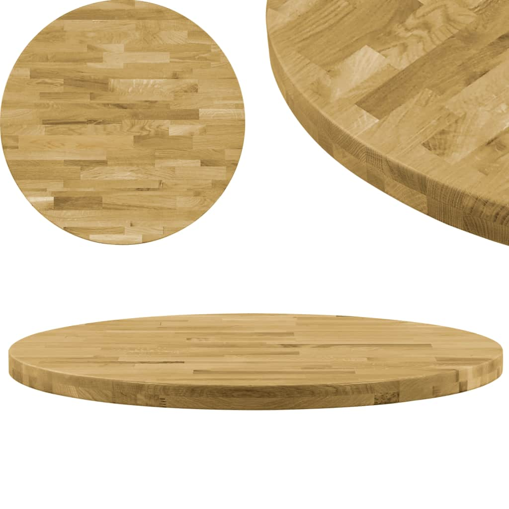 vidaXL Stolová doska dubové drevo okrúhla 44 mm 800 mm