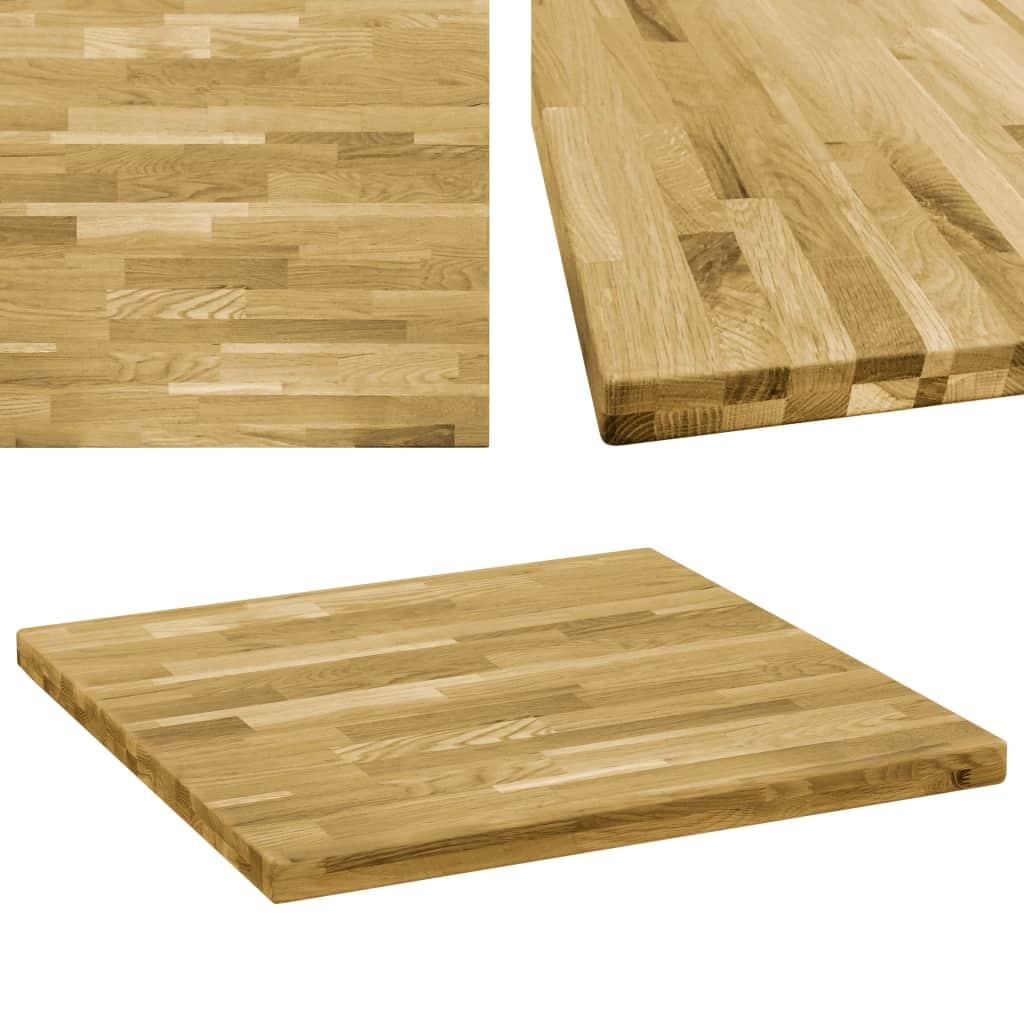 vidaXL Stolová doska dubové drevo štvorcová 44 mm 70x70 cm