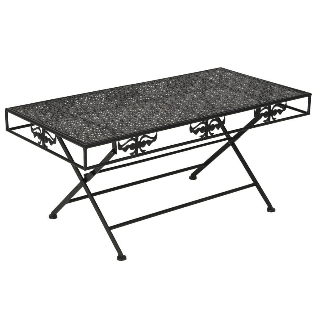 vidaXL Skladací konferenčný stolík čierny 100x50x45 cm kovový vintage štýl
