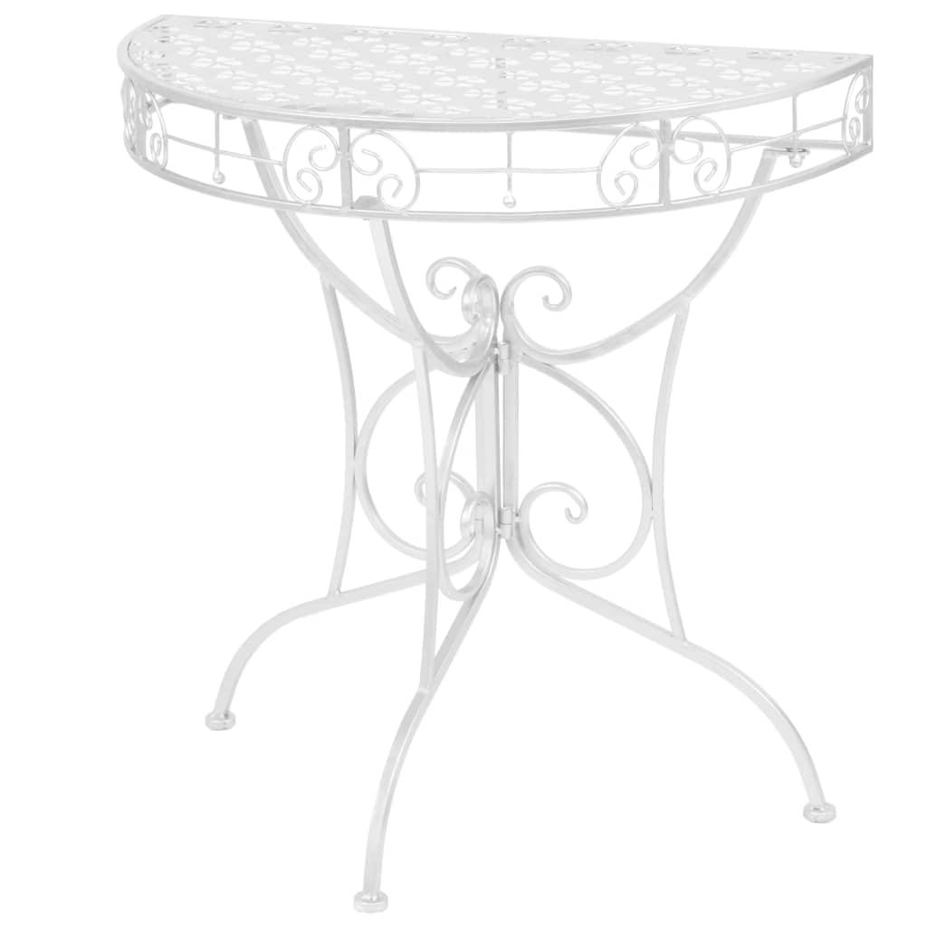 vidaXL Bočný stolík strieborný 72x36x74 cm kovový polkruhový vintage