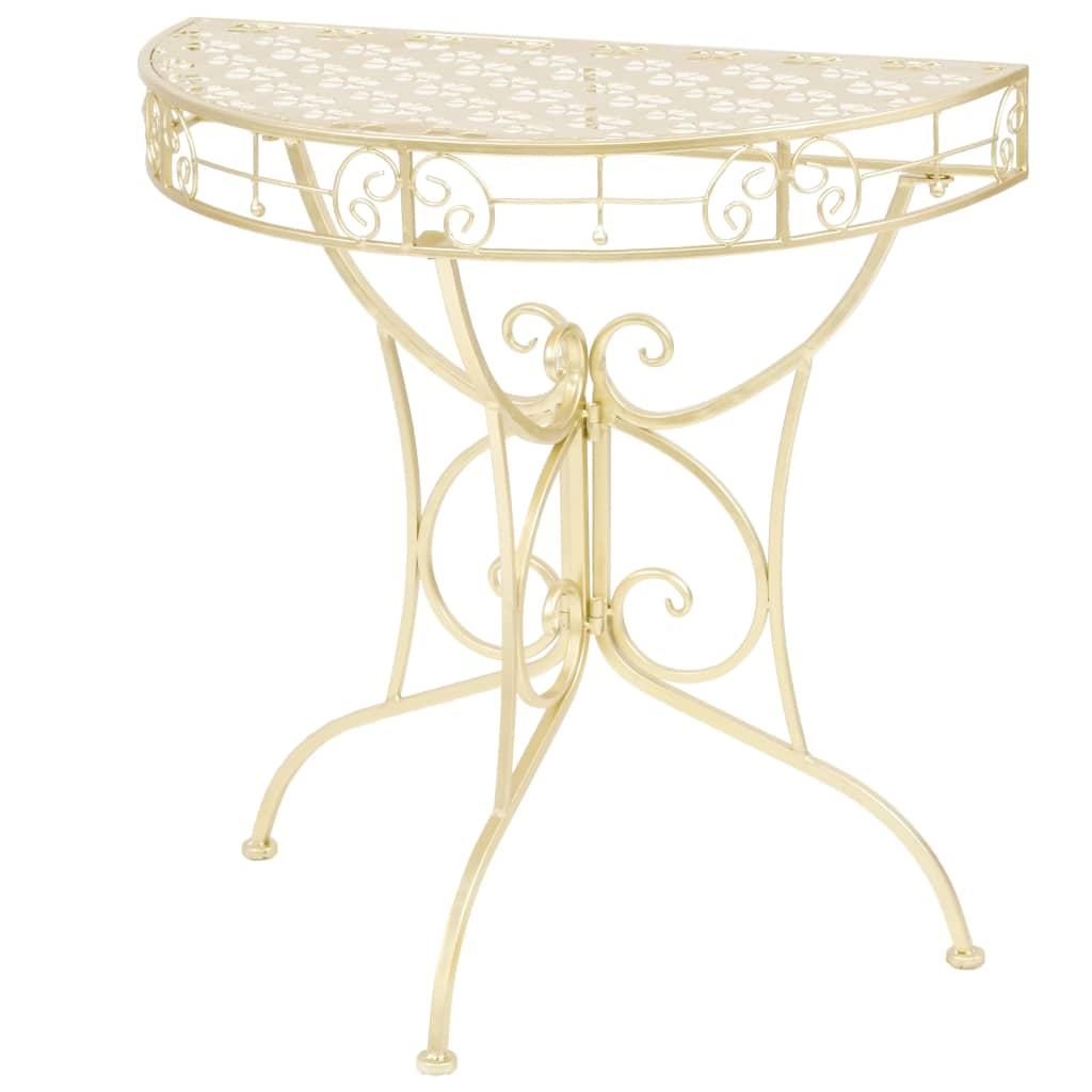 vidaXL Polkruhový kovový bočný stolík vintage štýl 72x36x74 cm zlatý