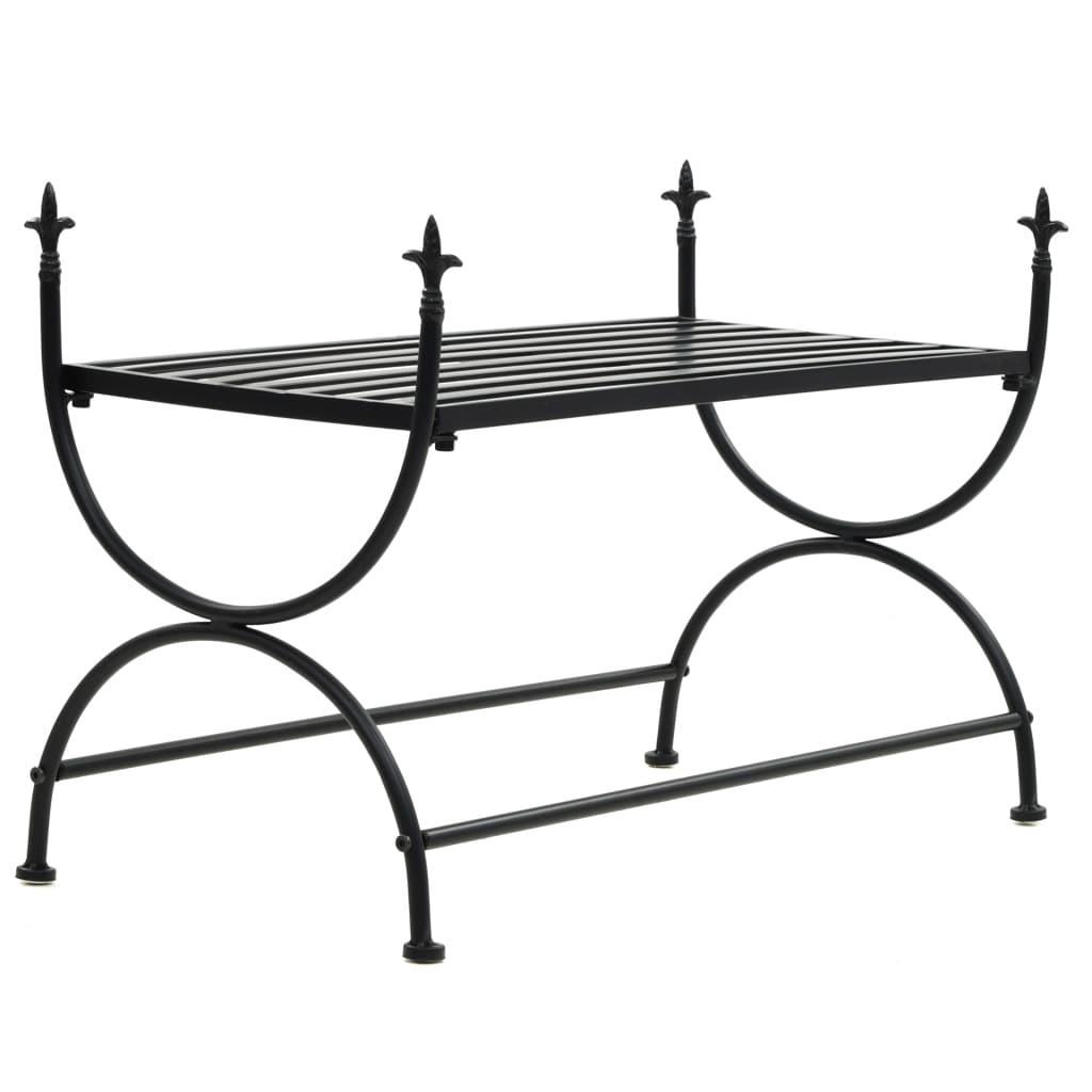vidaXL Kovová lavička so starožitným dizajnom 83x42x55 cm čierna