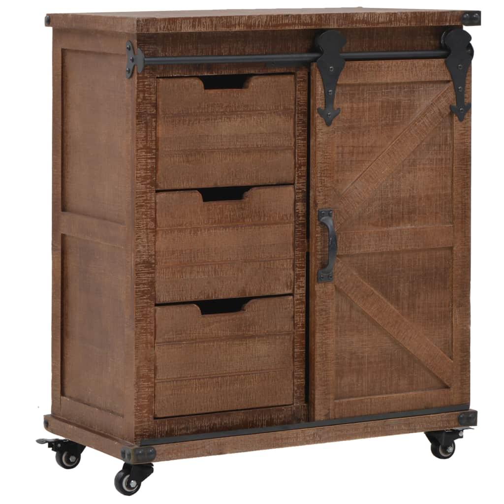 vidaXL Úložná skrinka z masívneho jedľového dreva 64x33,5x75 cm hnedá