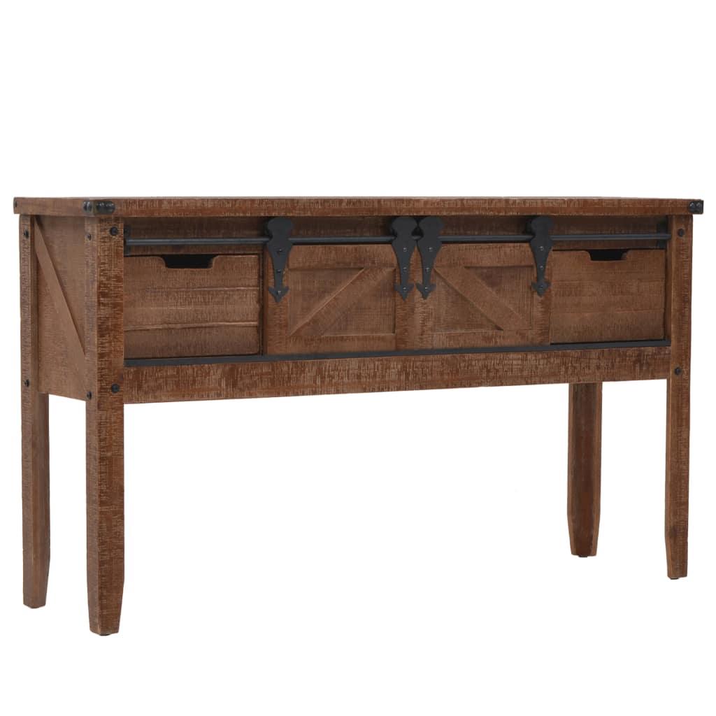 vidaXL Konzolový stolík z jedľového dreva 131x35,5x75 cm hnedý