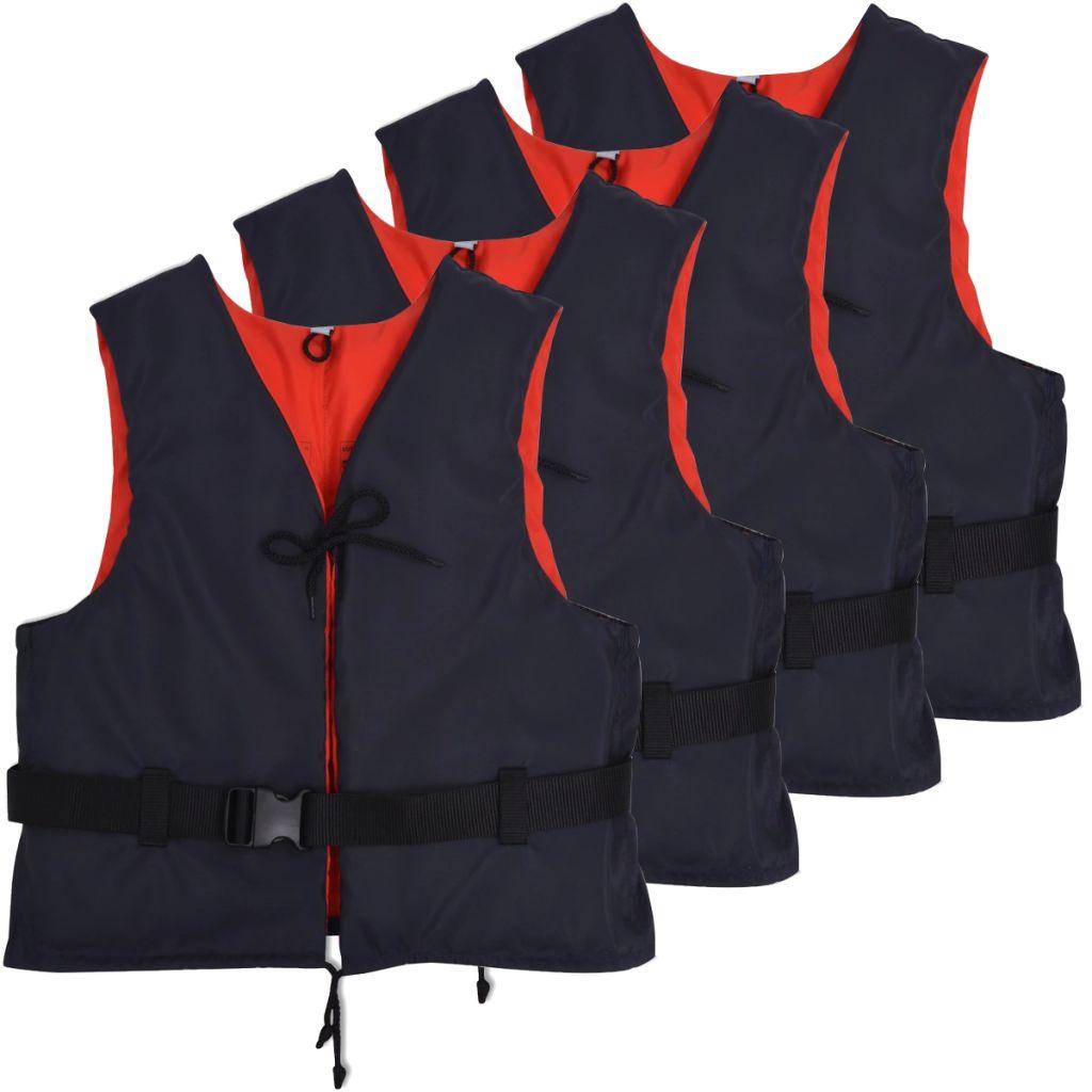 vidaXL Plávacie vesty 4 ks 50 N 30-50 kg tmavomodré