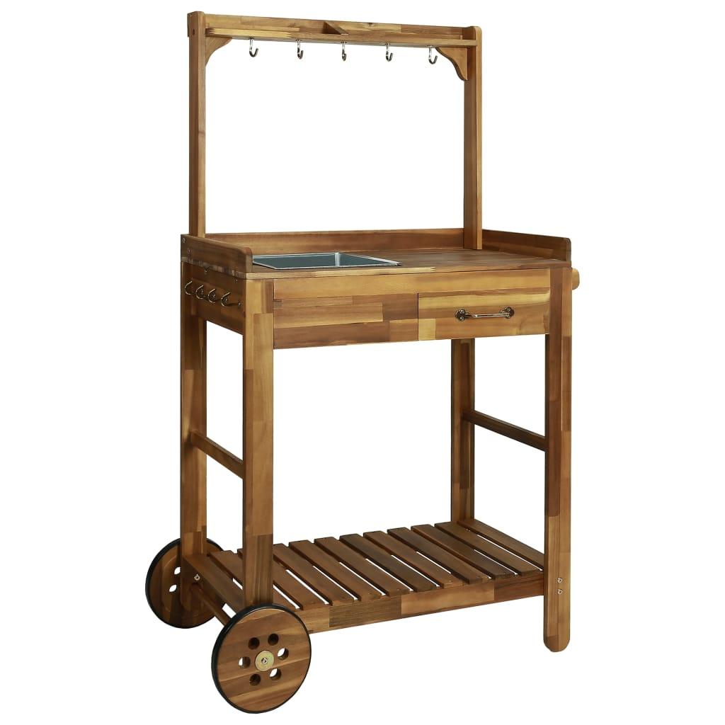 vidaXL Záhradný servírovací vozík z akáciového dreva 92x43,5x141,5 cm