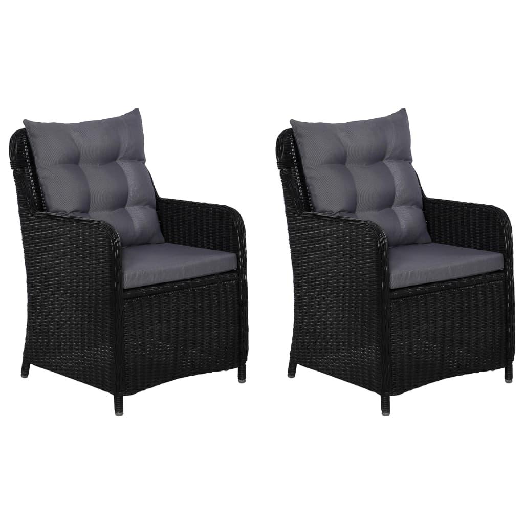 vidaXL Záhradné stoličky s vankúšmi 2 ks čierne polyratanové