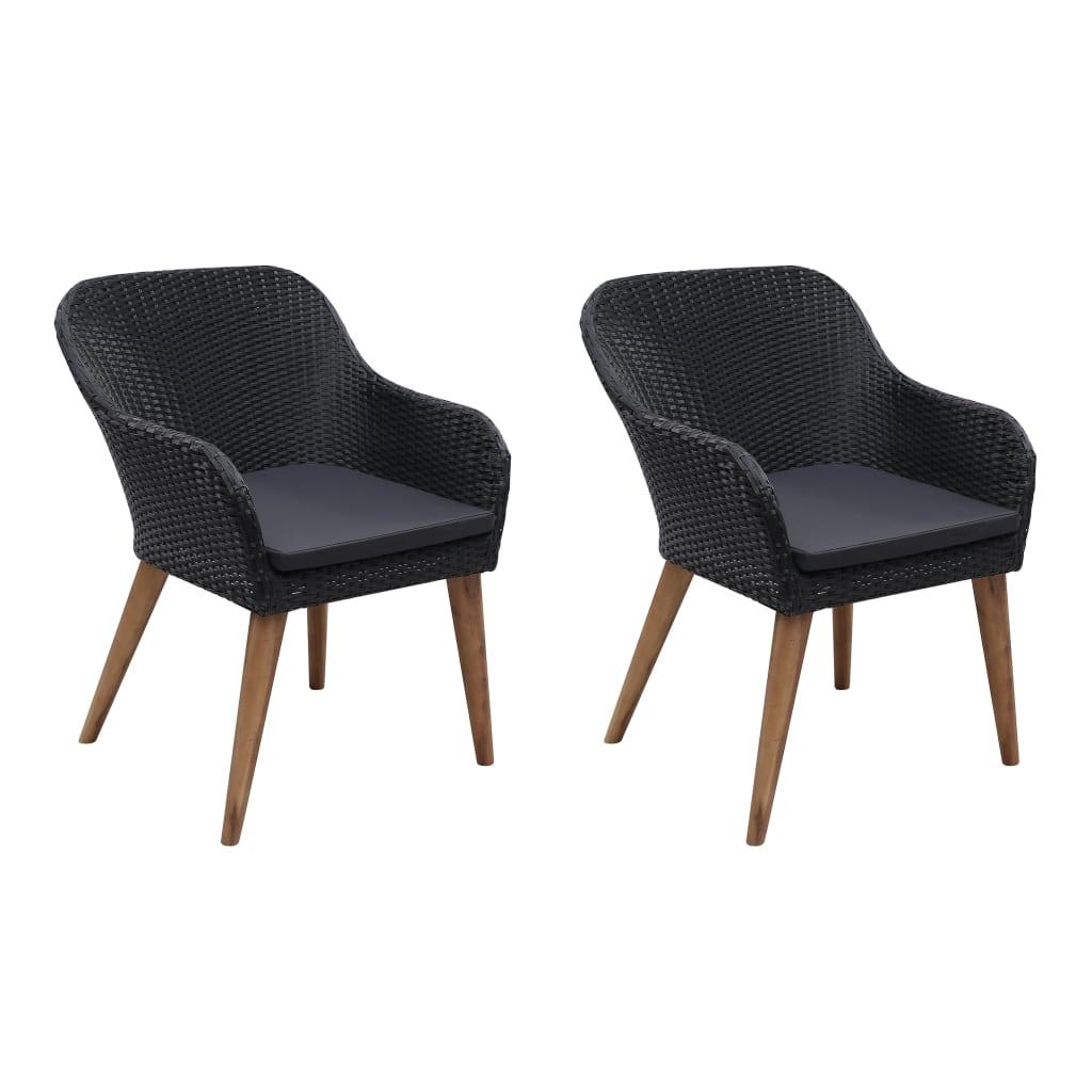 vidaXL Vonkajšie polyratanové stoličky s vankúšmi 2 ks čierne