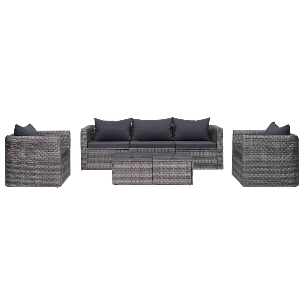 vidaXL 6-dielna sedacia súprava s podsedákmi a vankúšmi sivá polyratan