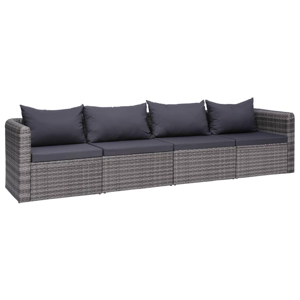 vidaXL 4-dielna záhradná sedacia súprava s vankúšmi sivá polyratanová