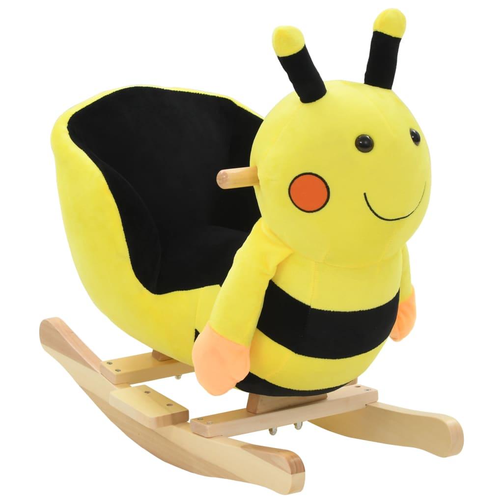 vidaXL Hojdacie zvieratko, včielka s operadlom plyšové 60x32x57 cm žlté