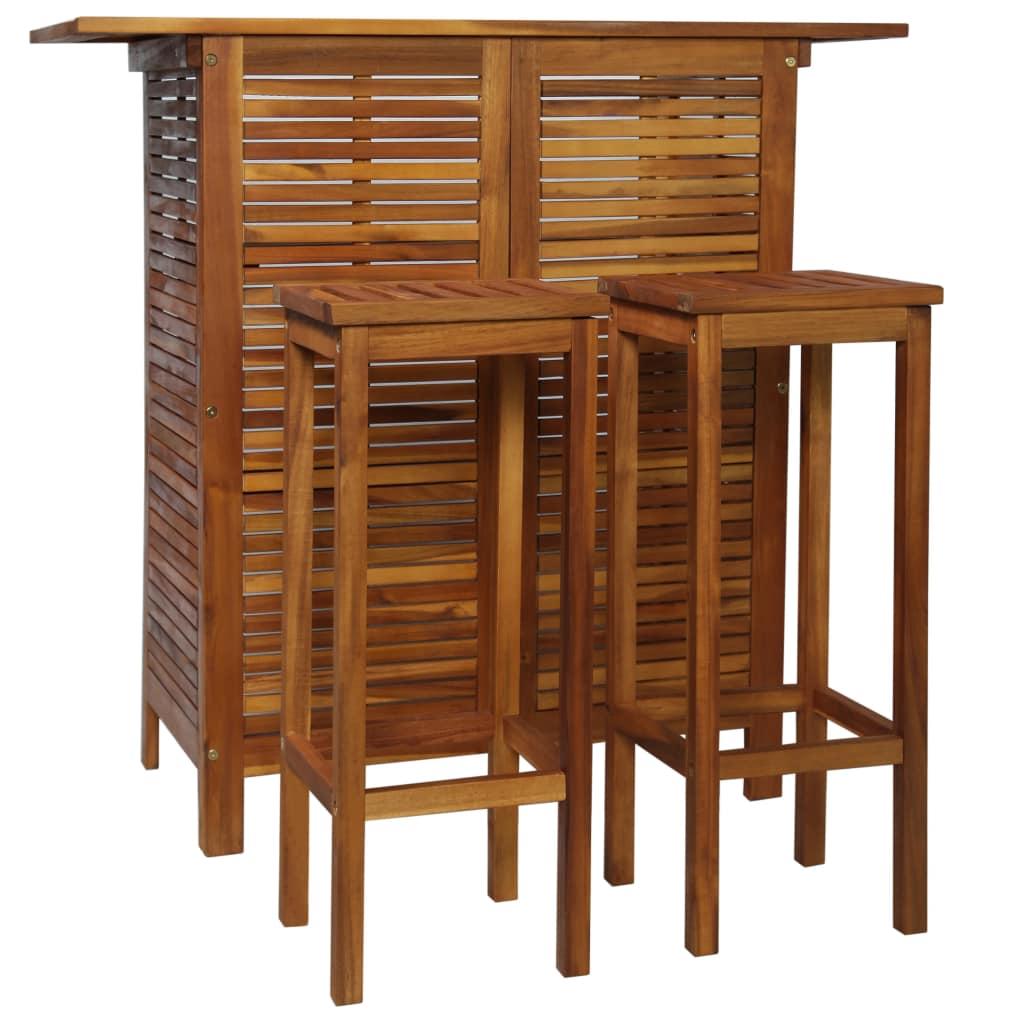 vidaXL 3-dielna súprava barového stola a stoličiek masívne akáciové drevo