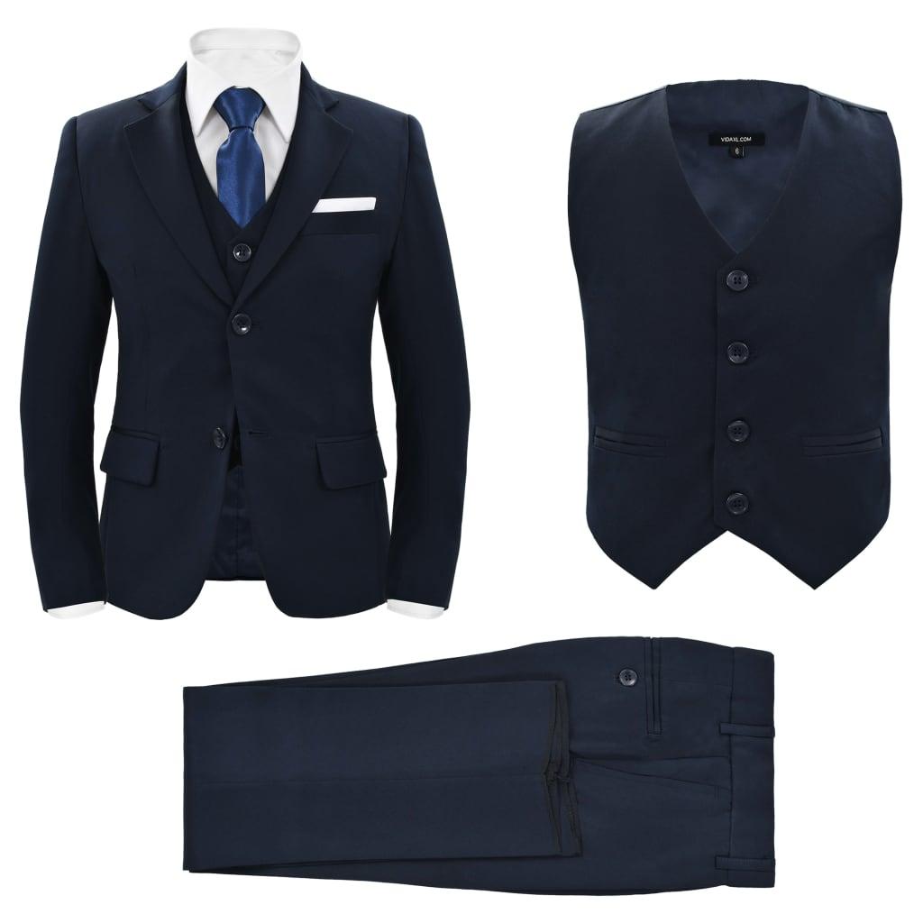 vidaXL Detský 3-dielny večerný oblek, veľkosť 104/110 tmavomodrý