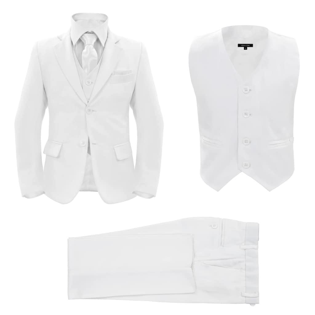 vidaXL Detský 3-dielny večerný oblek veľkosť 140/146 biely