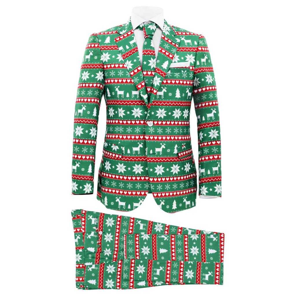 vidaXL 2-dielny pánsky vianočný kostým s kravatou veľkosť 56 zelený