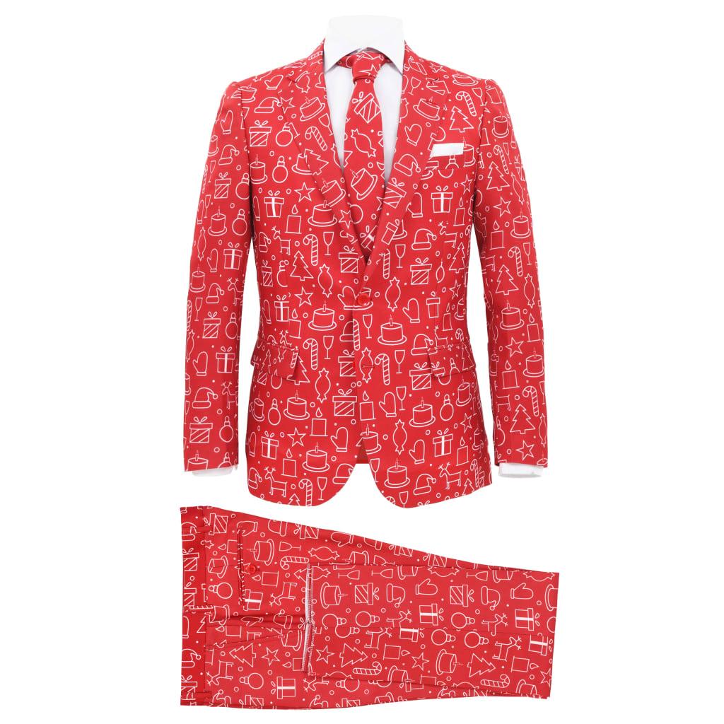 vidaXL 2-dielny pánsky vianočný kostým s kravatou veľkosť 56 červený s darčekmi