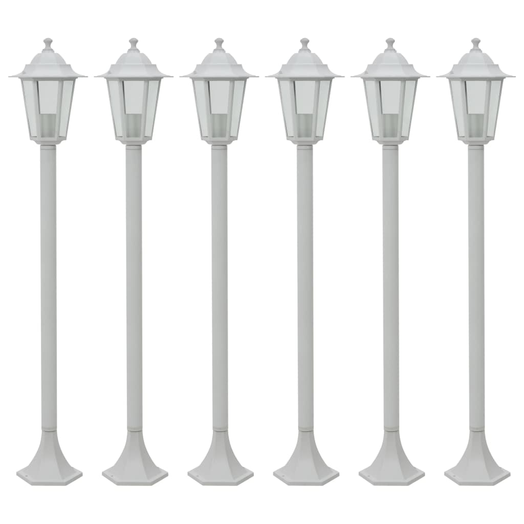 vidaXL Záhradné stĺpové lampy 6 ks E27 110 cm hliníkové biele