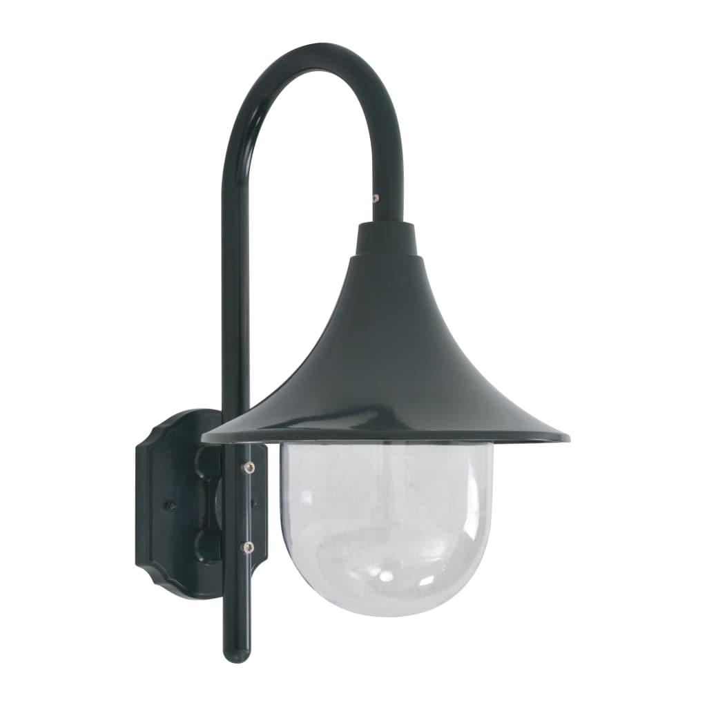vidaXL Záhradná nástenná lampa E27 42 cm hliníková tmavozelená