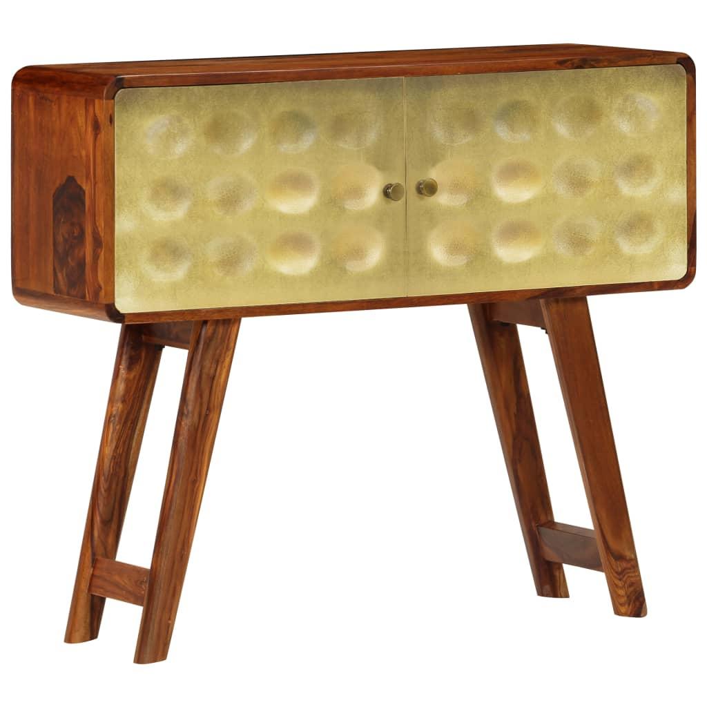 vidaXL Komoda zlatý náter 90x30x77 cm masívne sheesamové drevo