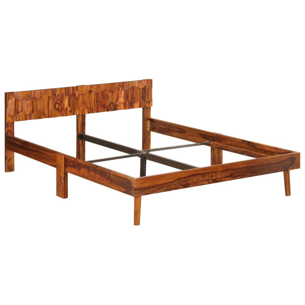 vidaXL Posteľný rám z masívneho sheeshamového dreva 140 cm