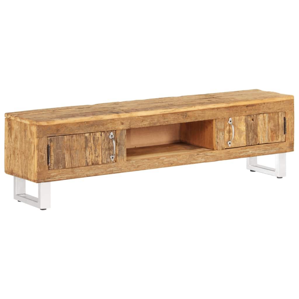 vidaXL TV stolík 140x30x40 cm masívne recyklované drevo z podvalov