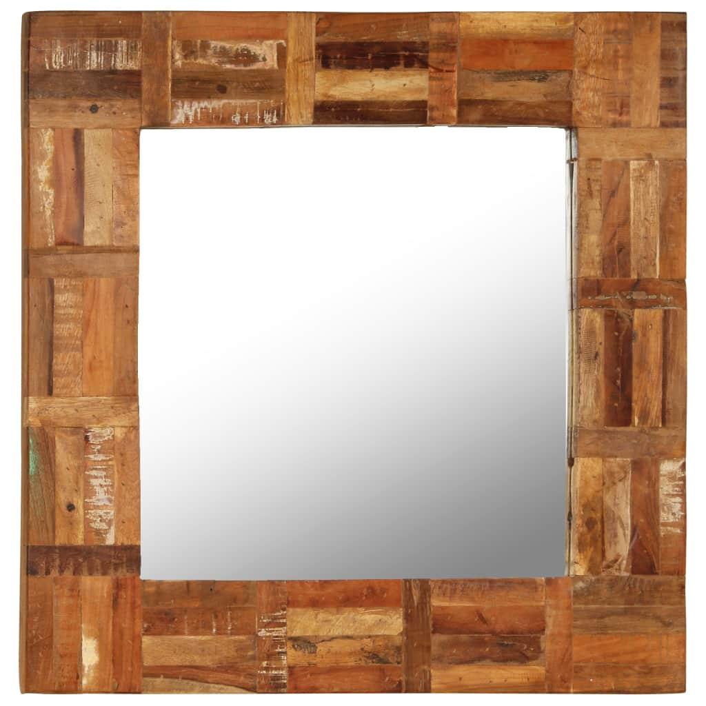 vidaXL Nástenné zrkadlo z masívneho recyklovaného dreva 60x60 cm